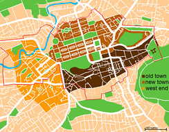 Map showing the areas of central Edinburgh