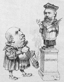 Eduard Hanslick offering incense to Brahms; cartoon from the Viennese satirical magazine Figaro, 1890