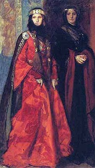 Balzac was accused of plagiarizing William Shakespeare's play King Lear, given the similarity of Goriot's daughters Anastasie and Delphine to Lear's children Goneril and Regan (depicted here in a 1902 painting by Edwin Austin Abbey).