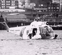 U.S. Coast Guard HH-52A floating on the sea in 1979