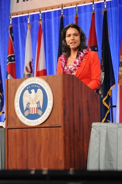 Gabbard speaks at the 135th National Guard Association of the United States conference in 2013