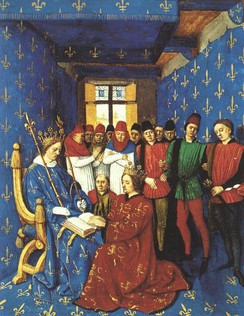 Homage of Edward I of England (kneeling) to Philip IV of France (seated), 1286. As Duke of Aquitaine, Edward was also a vassal to the French King. Illumination by Jean Fouquet from the Grandes Chroniques de France in the Bibliothèque Nationale de France, Paris.