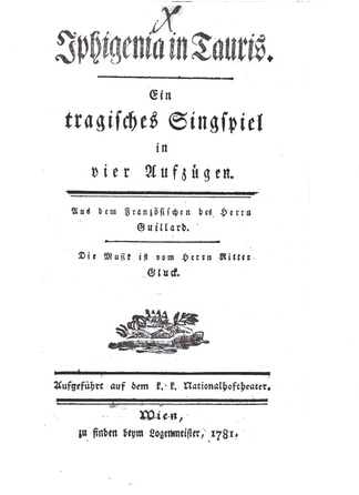 Title page of the German libretto of Iphigénie en Tauride