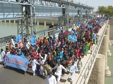 Pakistanis march from March 2nd to March 14th, 2010, calling for the rehabilitation of the Indus river delta.