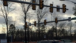 An intersection with blue confirmation lights in Newport News, Virginia