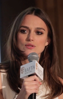 Knightley speaking at a British Film Academy event in 2015