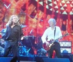 Plant on stage with Jimmy Page in 2007.