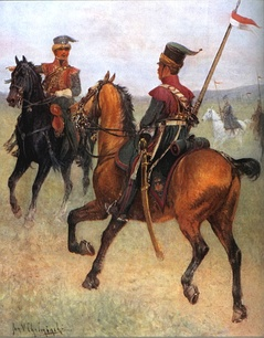 Lithuanian Tartars in the Napoleonic Army with Red and White banners of Polish–Lithuanian Commonwealth