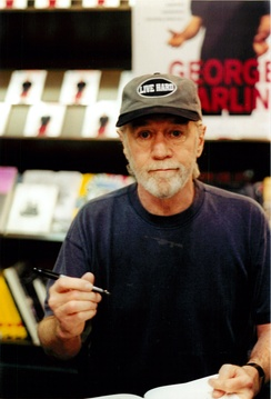 George Carlin at a book signing for Brain Droppings in New York City at Barnes & Noble