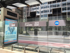 A CTA Loop Link bus station at Madison and Franklin