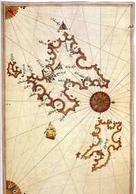 Map of Mallorca and Menorca by the Ottoman admiral Piri Reis