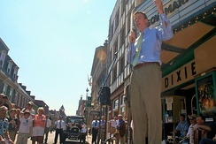 Former Gov. Mark Warner (D) campaigns at the Dixie Theatre in Staunton, Virginia