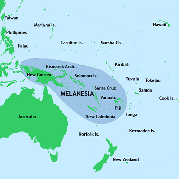 New Guinea located in relation to Melanesia