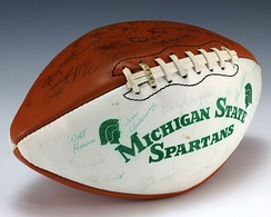 A football signed by the 1979 Michigan State Spartans football team
