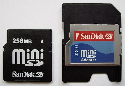 MiniSD Card with an SD card adapter