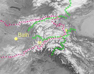 Mount Imeon area with the ancient Bulgar lands according to Acad. Suren T. Eremian's reconstruction of the original 'Ashharatsuyts' map of Central Asia.