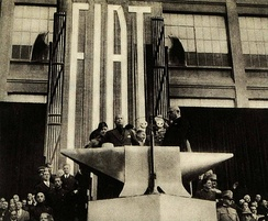 Benito Mussolini giving a speech at the Fiat Lingotto factory in Turin, 1932