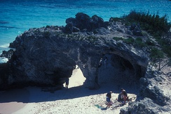 One of the natural arches on Natural Arch Beach, prior to 2003