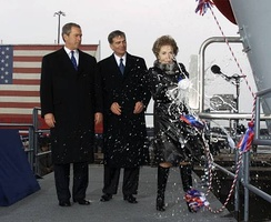Former First Lady Nancy Reagan christens USS Ronald Reagan, March 4, 2001