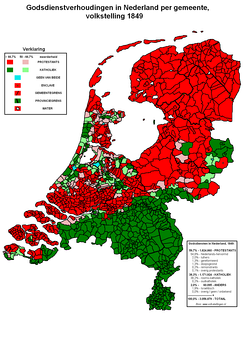 Religion in the Netherlands in 1849.   Roman Catholicism   Protestantism (Calvinist)