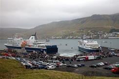 The new ferry MS Smyril enters the Faroe Islands at Krambatangi ferry port in Suðuroy, 2005