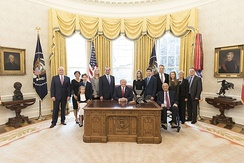 Azar and his family (with President Trump and Vice President Pence) shortly after being sworn in as Secretary of Health and Human Services
