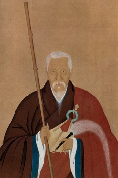 Portrait of Chinese monk Yinyuan (Ingen), who founded the Ōbaku school