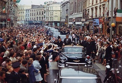 President John F. Kennedy in motorcade in Cork on June 27, 1963