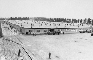 Prisoner barracks at Dachau Concentration Camp, where the Nazis established a dedicated clergy barracks for clerical opponents of the regime in 1940[410]
