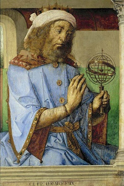 Ptolemy with an armillary sphere model, by Joos van Ghent and Pedro Berruguete, 1476, Louvre, Paris