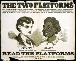 A pro-Hiester Clymer racist political campaign poster from the 1866 Pennsylvania gubernatorial election
