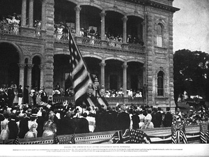 On August 12, 1898, the flag of the Republic of Hawaii over ʻIolani Palace was lowered and the United States flag raised to signify annexation.