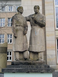 The teacher-student-monument in Rostock, Germany, honors teachers