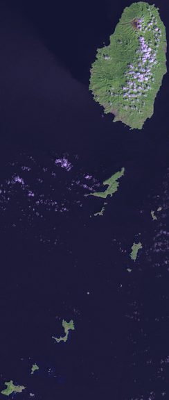An enlargeable satellite image of Saint Vincent and the Grenadines