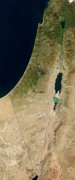 A 2003 satellite image of the region showing the Jordan Rift Valley