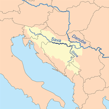 Map showing the Drina within the Sava River watershed.