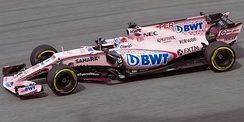 Pérez driving for Force India at the 2017 Malaysian Grand Prix.