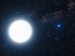 The Sirius system: a white dwarf star in orbit around an A-type main-sequence star (artist's impression).