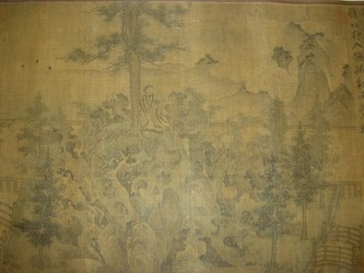 A Song Dynasty painting on silk portraying Tao's return to seclusion in the mountains, early 12th century. Li Peng (c. 1060-1110) inscribed a poem on this handscroll entitled Returning Home in honor of Tao Qian, otherwise known as Tao Yuanming.