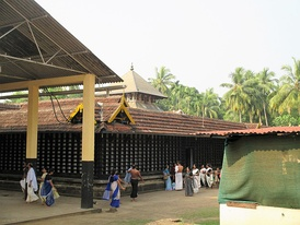 The outer walls around the sanctum of the temple