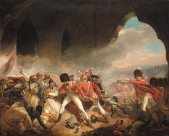 The fall of Tipu Sultan and the Sultanate of Mysore, during the Battle of Seringapatam in 1799