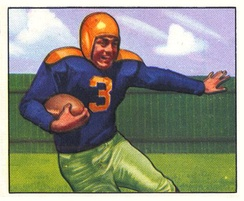 A 1950 depiction of Tony Canadeo, whose No. 3 was retired by the Packers in 1952