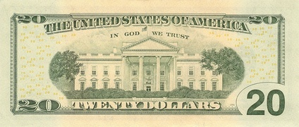 North front of the White House on the reverse (back) of the U.S. $20 bill.