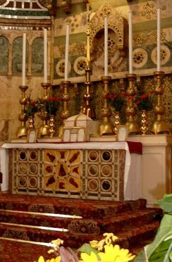 An altar prepared according to the rubrics for the Tridentine Mass. Many Western Rite Orthodox congregations celebrate a revised version of the Tridentine Mass under the name Divine Liturgy of Saint Gregory.