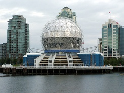 Science World is an interactive science centre. The building was originally constructed for Expo 86.