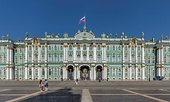 Entrance of the Palace Square façade of the Winter Palace (Sankt Petersburg, Russia), the official residence of the Russian Emperors from 1732 to 1917
