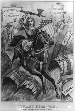 """Woman's Holy War. Grand Charge on the Enemy's Works"". An allegorical 1874 political cartoon print, which shows temperance campaigners as virtuous armoured women warriors, wielding axes to destroy barrels of Beer, Whisky, Gin, Rum, Brandy, Wine and Liquors, under the banners of ""In the name of God and humanity"" and the ""Temperance League""."