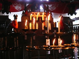 Altar to Inari Ōkami at the Fushimi Inari Shrine in Kyoto. Shinto is the ethnic religion of the Japanese people.