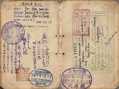 1940 issued visa by Consul Chiune Sugihara in Lithuania