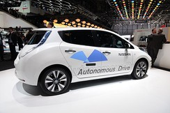Nissan autonomous car prototype technology was fitted on a Nissan Leaf all-electric car.